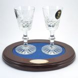 Crystal Sherry Glasses on Personalised Tray ref SOT1